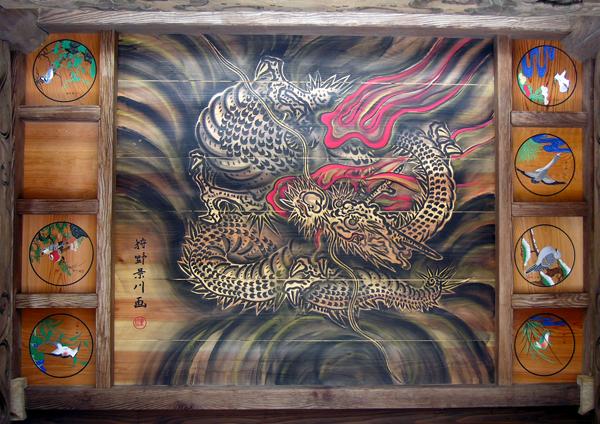山門一階の狩野景川の天井絵